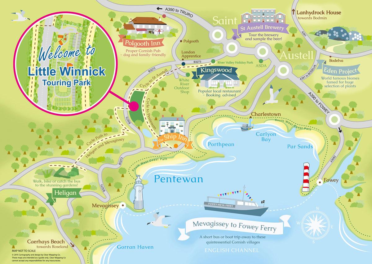 Illustrated Area Map Little Winnick Touring Park