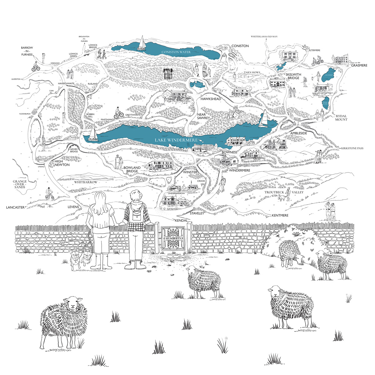 Feature Wall Map Windermere