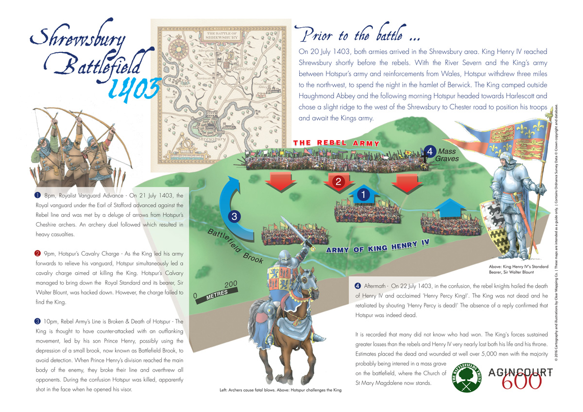 Illustrated Map of Shrewsbury Battlefield for the Battlefields Trust