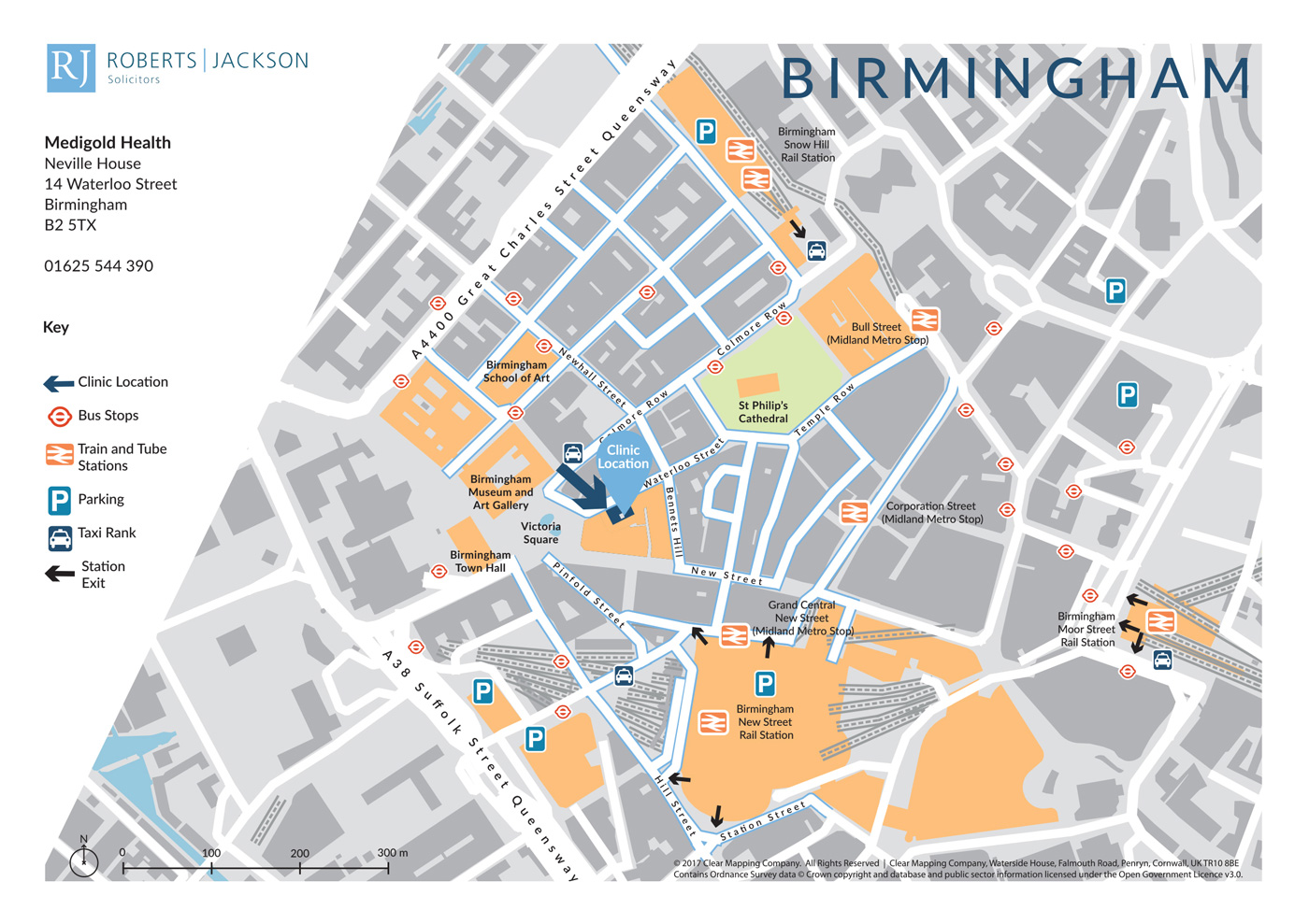 Map showing the location and transport links to a private health clinic in Birmingham