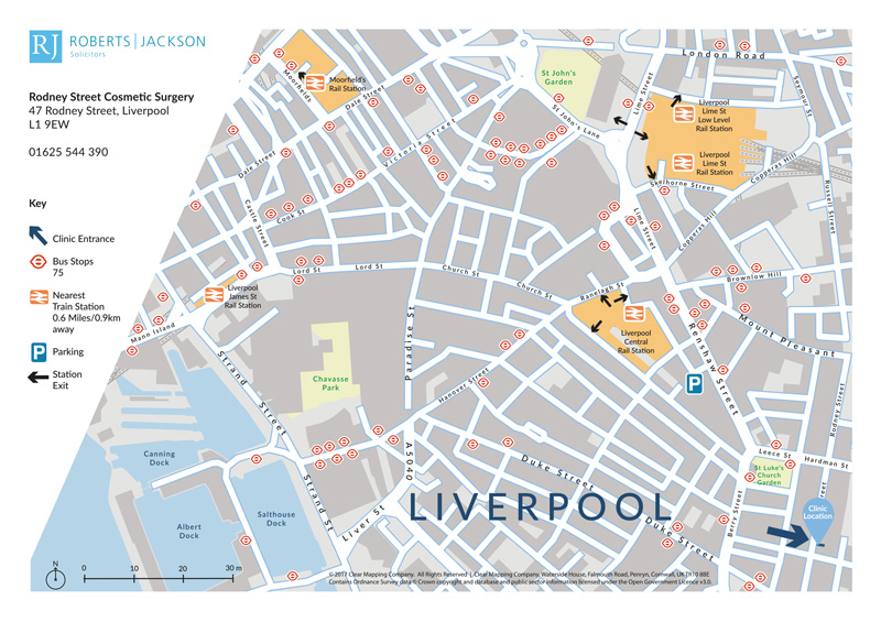 Map showing the location and transport links to a private health clinic in Liverpool