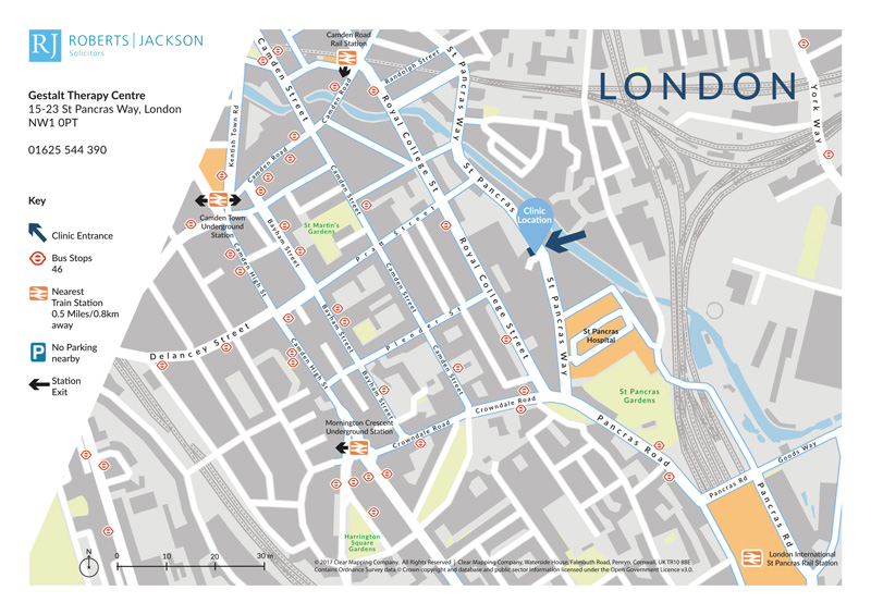 Map showing the location and transport links to a private health clinic in London