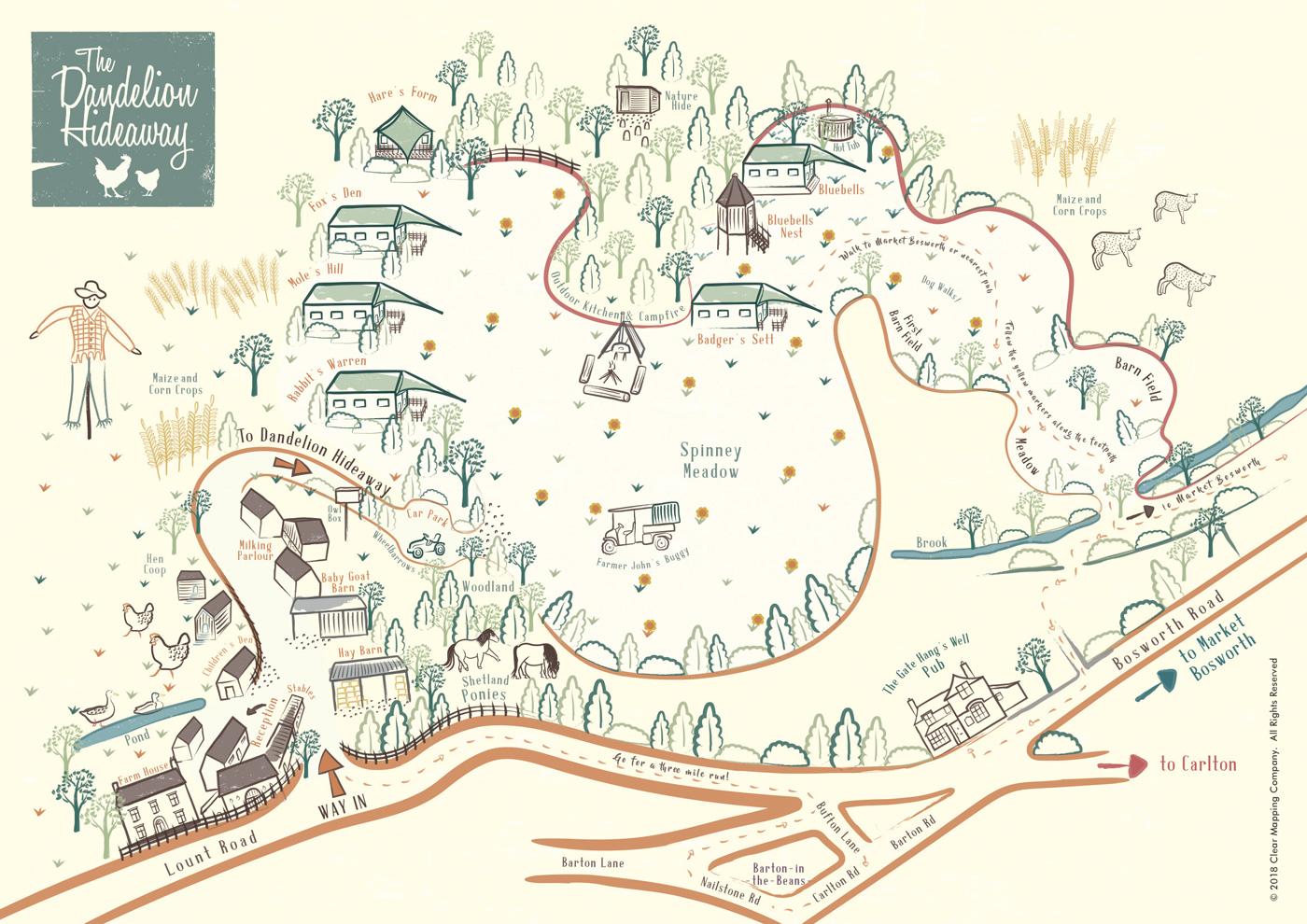 Dandelion Hideaway Illustrated Map