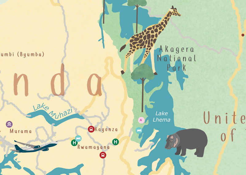 Illustrated Map of Kigali, Rwanda