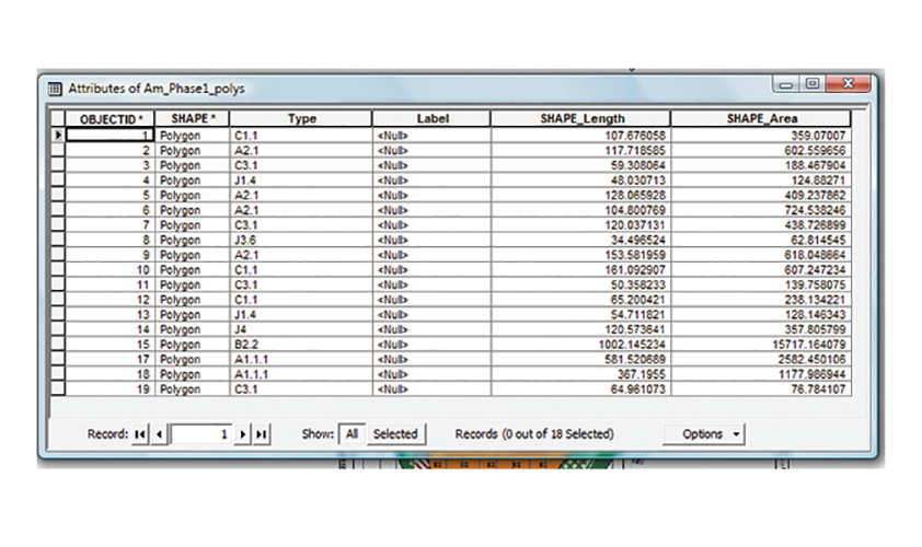 Attributes table showing how GIS works