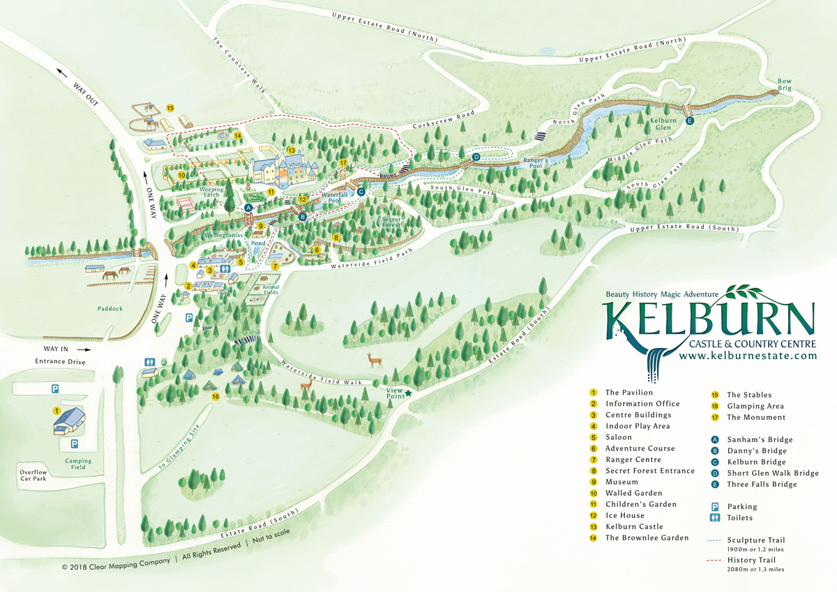 Bespoke Illustrated visitor map of Kelburn Castle and Country Centre