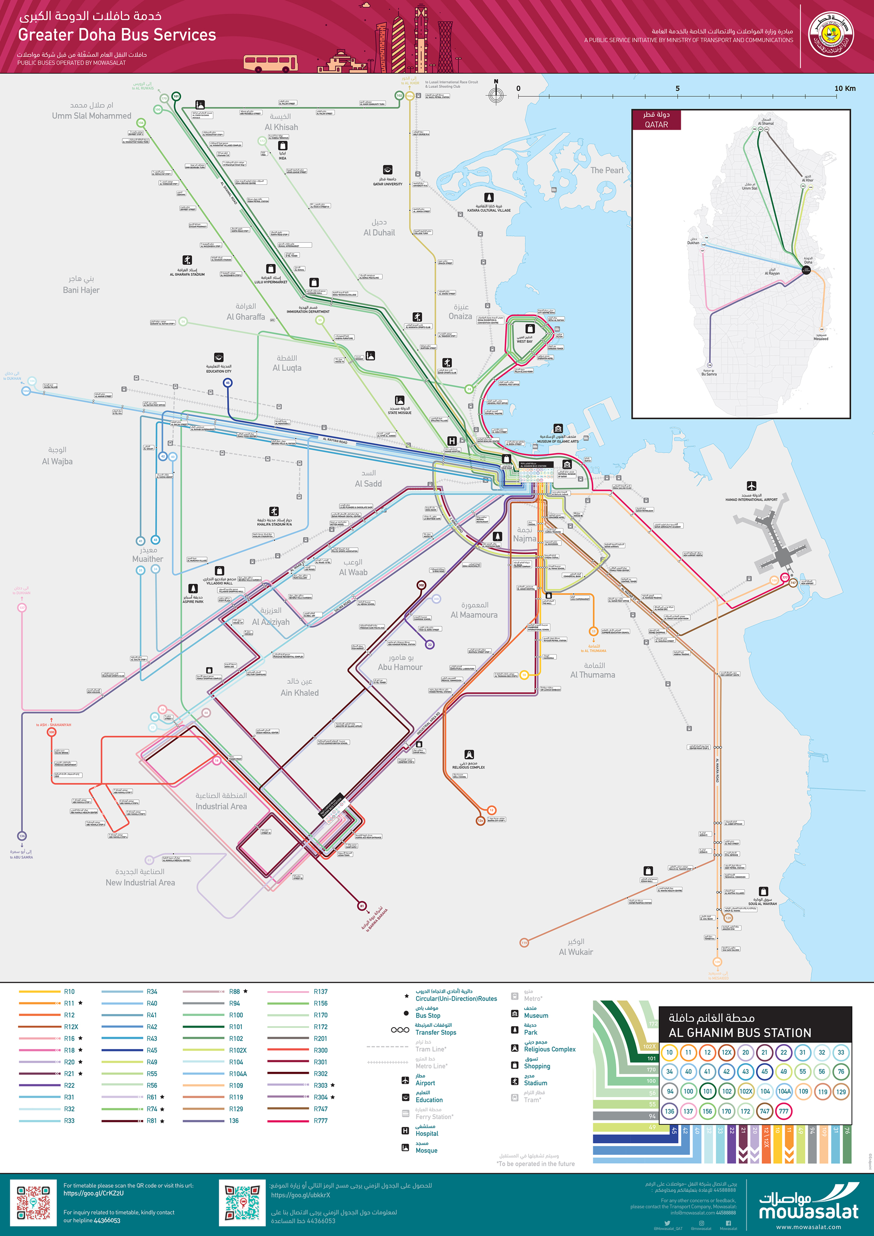 Doha Bus Route Map - for print • Clear Mapping Company