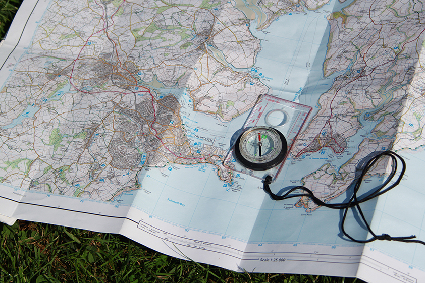 Compass on OS map showing Falmouth