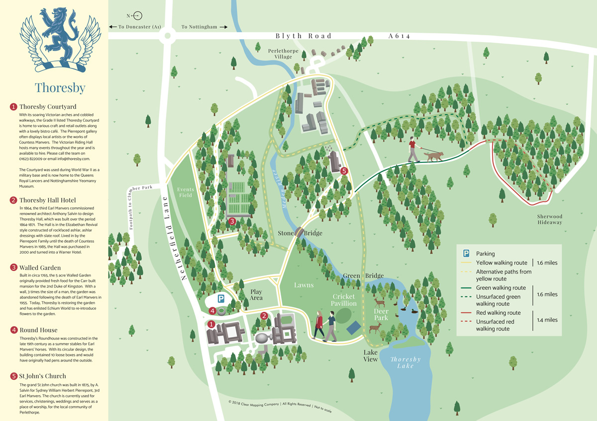 Thoresby Hall Park Illustrated Map