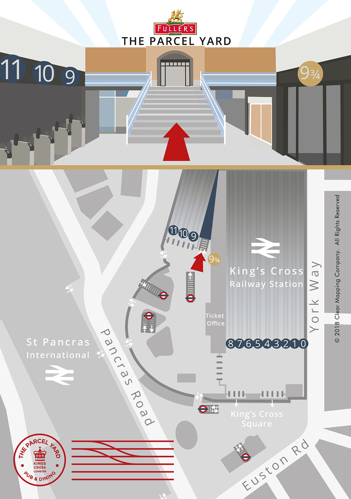 Fullers Brewery Map showing the location of The Parcel Yard pub at Kings Cross station