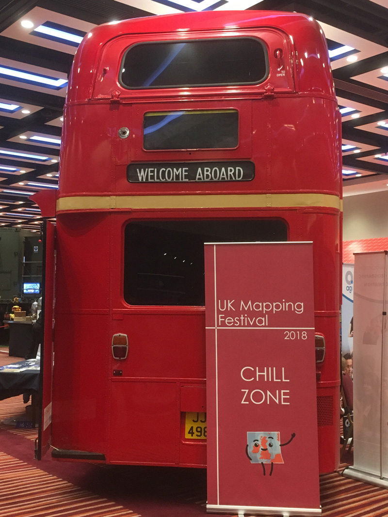 Red bus chill out zone at the UK Mapping Festival