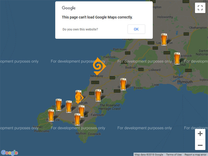 Image showing example of Google Maps message