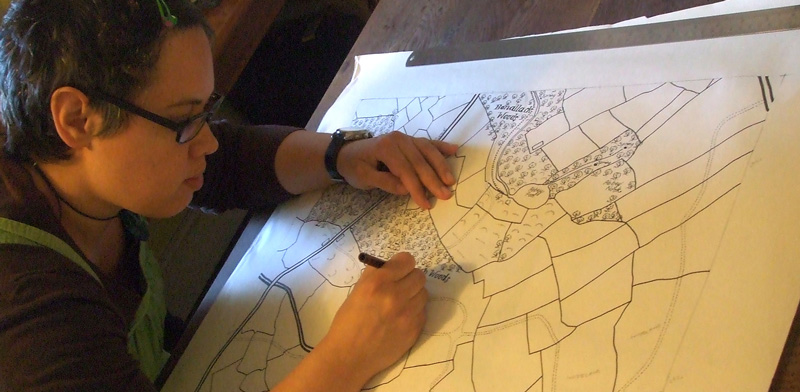 Caroline Robinson creating an illustrated map