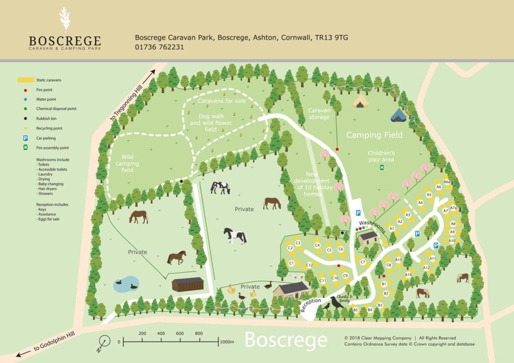Boscrege Caravan & Camping Park Map