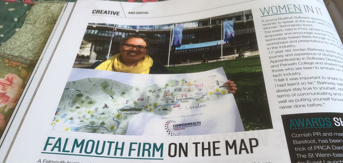 Magazine open with 'Falmouth Firm on the map'