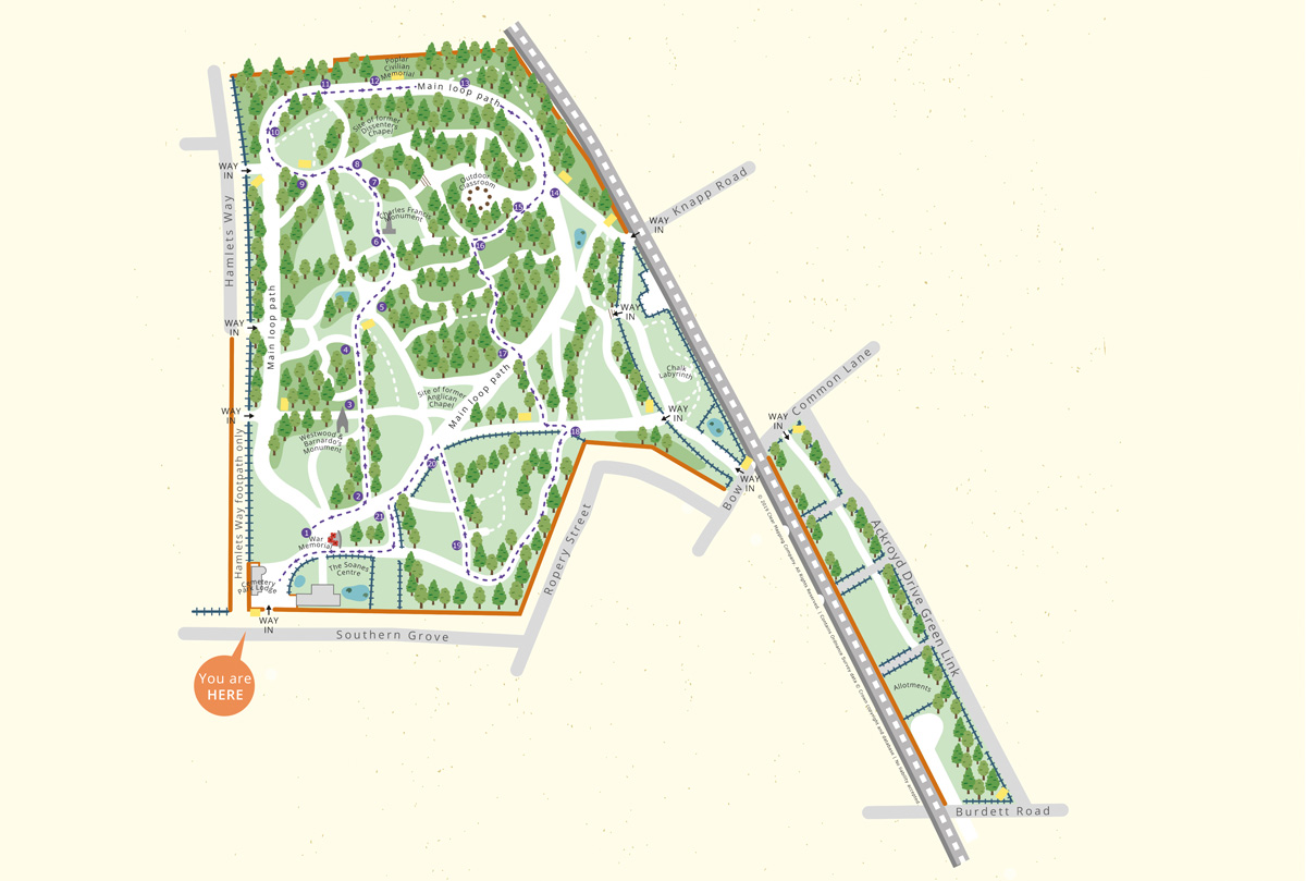 Map for signage to guide visitors around Tower Hamlets Cemetery Park