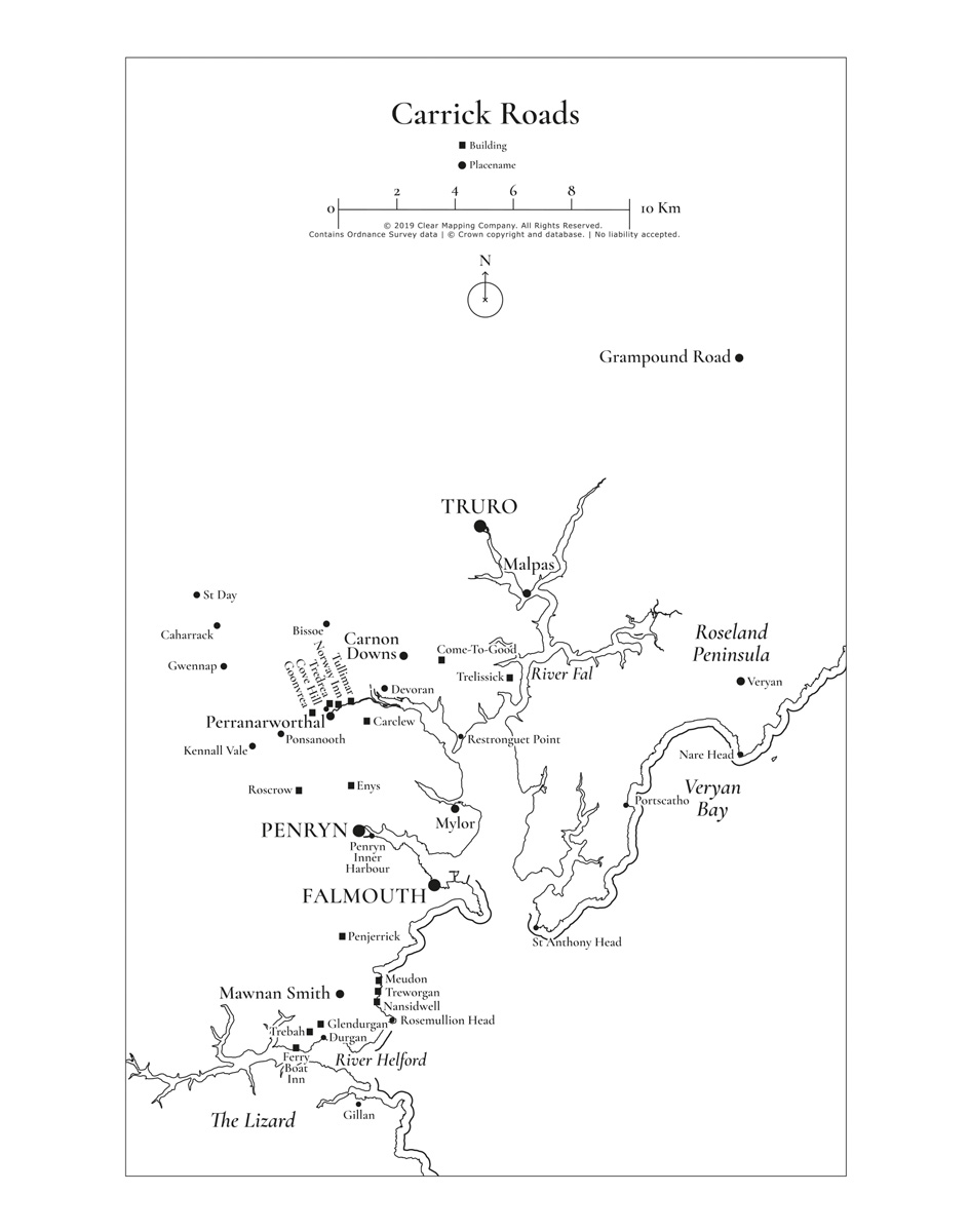 Map of Carrrick Roads and places of importance to the Fox Family