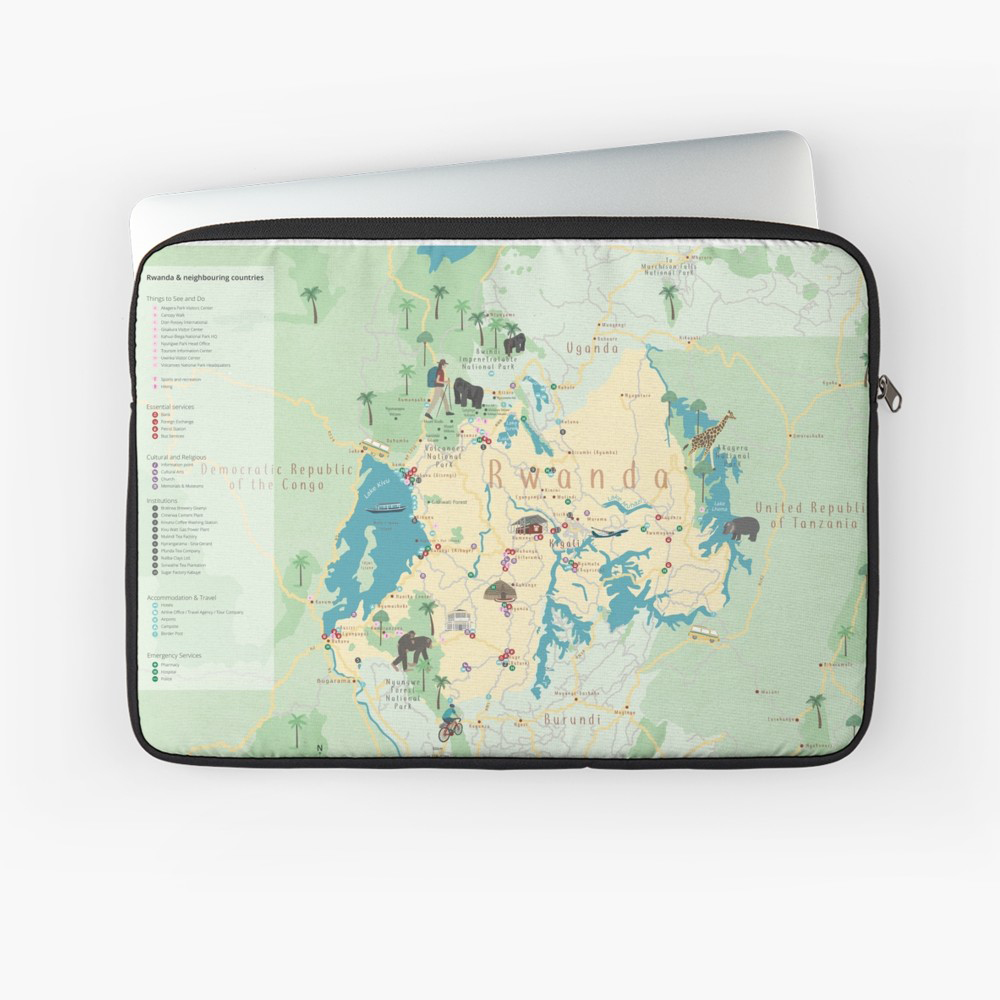 Visit Rwanda! Fresh, new map of Rwanda's National Parks and places to visit in this vibrant African country. Purchase at Redbubble.