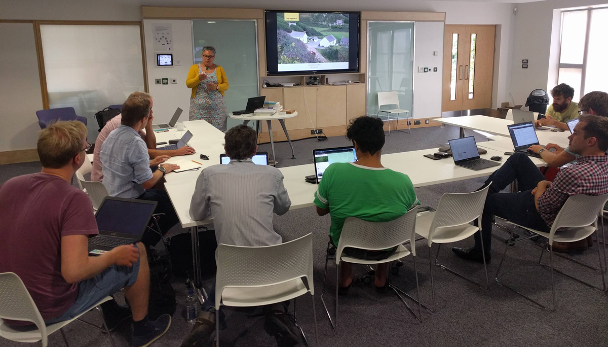 Room of people attending data science cornwall talk